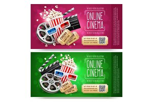 Cinema flyers with gift coupon. Gold
