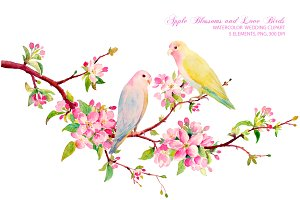Wedding Clipart Apple Blossoms Birds