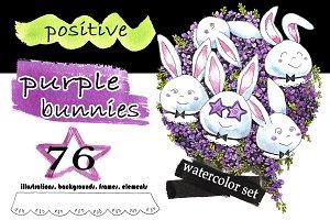 Positive purple bunnies set