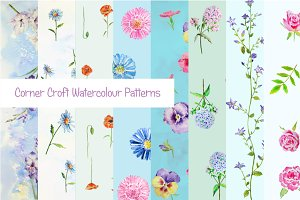 Watercolor Floral Pattern Blue Theme