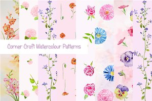 Watercolor Floral Pattern Pink Theme