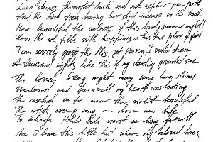 English text handwritten letter