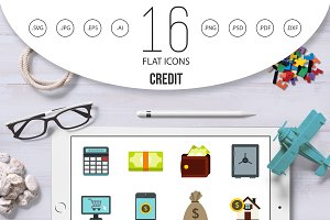 Credit icons set, flat style