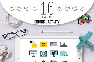 Criminal activity icons set, flat
