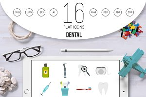 Dental icons set, flat style