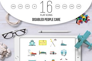 Disabled people care icons set, flat
