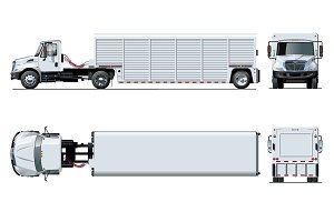 Vector semi truck template isolated