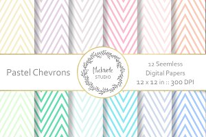 Pastel Chevron digital paper