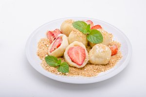 Stuffed strawberry dumplings