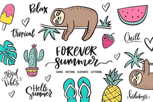 Summer quotes, illustration, patter…