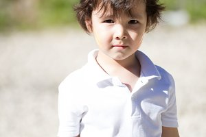 Cute caucasian toddler boy playing