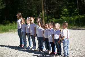 Little children in white t-shirts