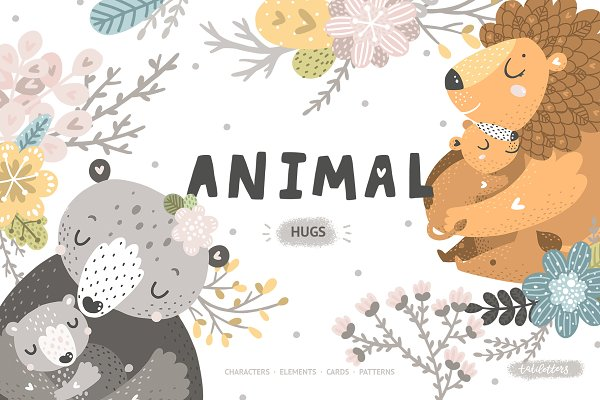 Illustrations and Illustration Products: tatiletters - Animal hugs Mother and baby
