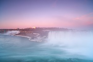 Niagara falls view during sunset