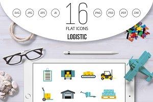 Logistic icons set, flat style