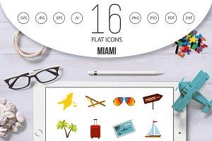 Miami icons set, flat style