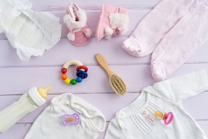 Collection of baby utensils