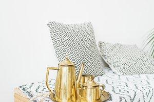 Golden tea accessories