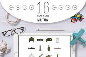 Military icons set, flat style
