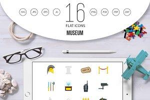 Museum icons set, flat style