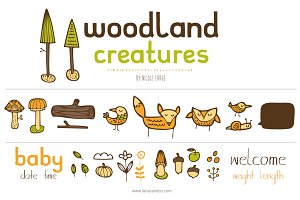Woodland Creatures (Clipart)