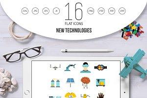 New technologies icons set, flat