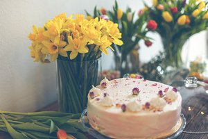 Beautiful cake and spring flowers