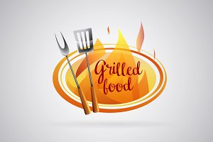 Logo Barbecue grilled food with flam
