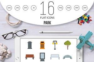 Park icons set, flat style