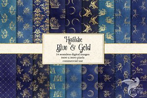 Blue and Gold Heraldic Backgrounds