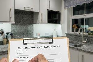 Builder fills out estimate for