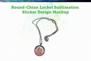 Round Locket with chain Mock-up