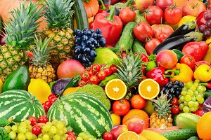 Assorted fresh ripe fruits and veget