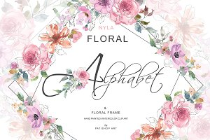 Sketch Style Blush Floral Alphabet