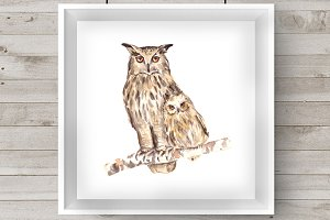 Watercolor Mother & Baby - Owls