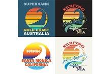 California surf illustration, vector