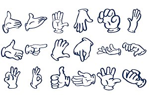 Cartoon gloved hands. Vector