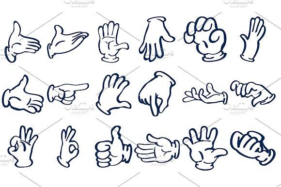 Cartoon Gloved Hands Vector Illustrations Creative Market