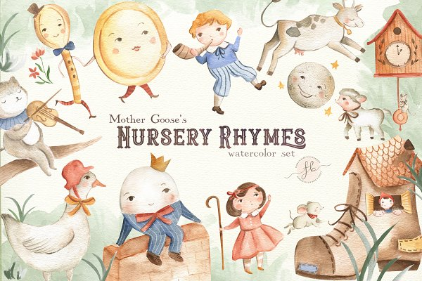 Illustrations and Illustration Products: Flora & Bear - Mother Goose's Nursery Rhymes