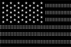 American flag black and white dots