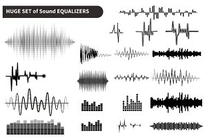 Vector sound waves set, audio shapes