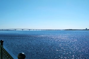 Saratov bridge. Volga river photo