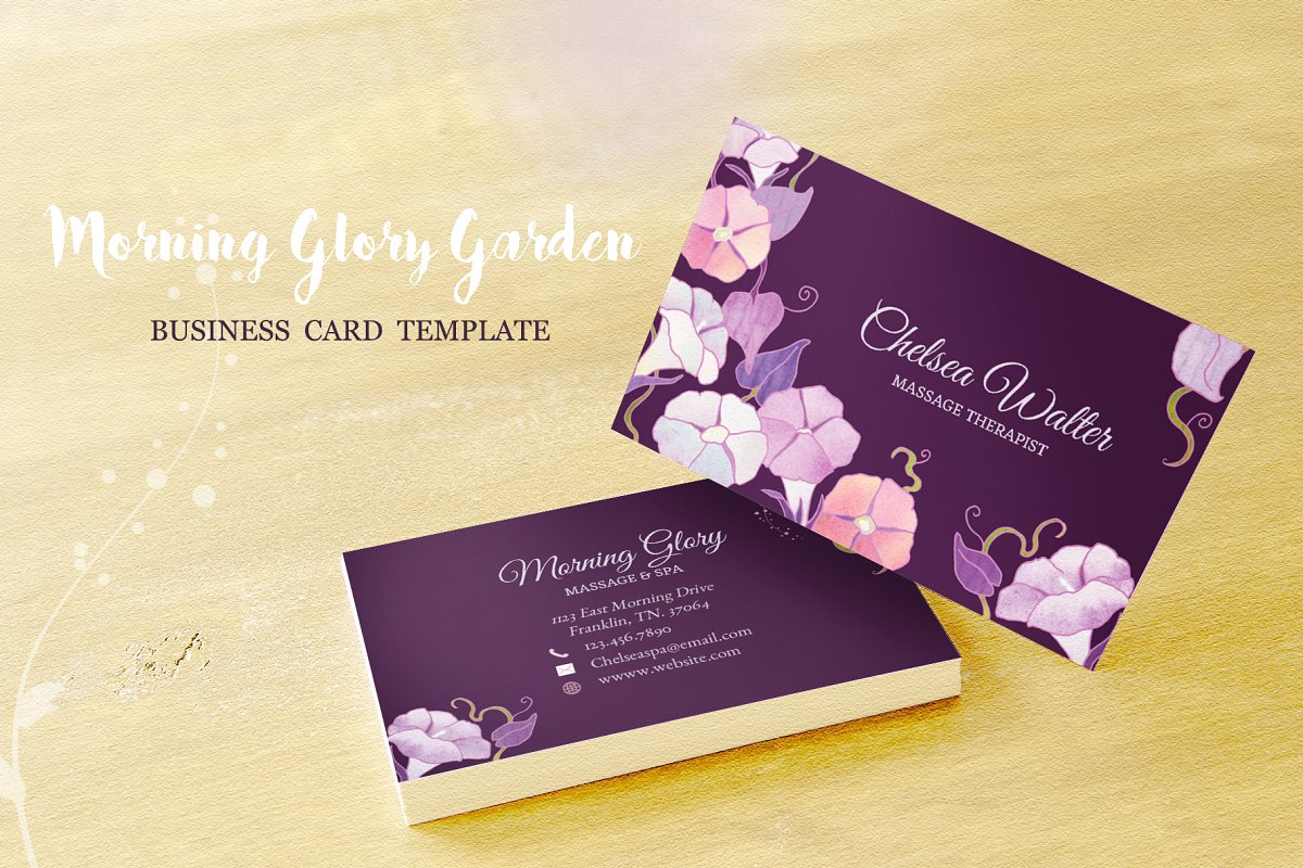 Morning Glory Business Card Template Business Card Templates