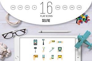 Selfie icons set, flat style