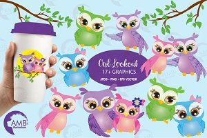 Owls in love clipart, AMB-271