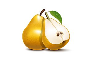3d Whole Pear and Slices