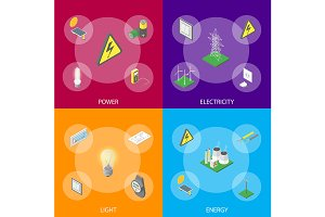 Power Set Isometric View. Vector