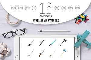Steel arms symbols icons set in flat