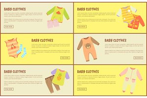 Baby Clothes Web Pages Set Vector