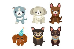 Dogs and Puppies Set Poster Vector